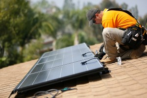 Image of Solar Installer on Roof of a Virginia Home