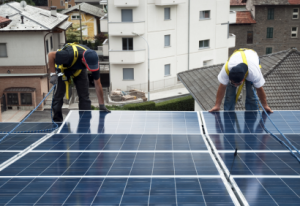 Solar PV Installers Working on a CA roof