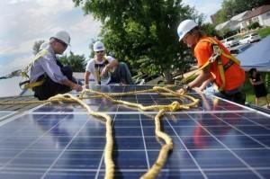 Solar installation on roof in Colorado