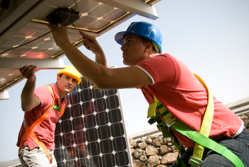 Men Installing Solar PV Panels