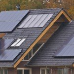 Solar panels on a new home