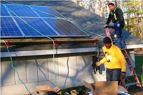 Students Installing a Solar Panel System During Training