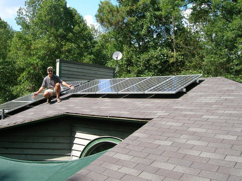 Solar Panel System Homeowner on the Roof