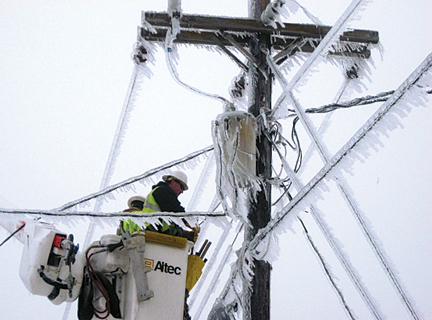 Lineman in Ice Conditions